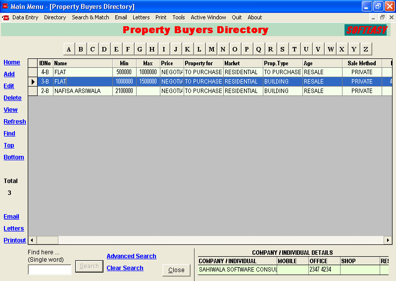Property Buyers Records Screen of Real Estate Property Management Software