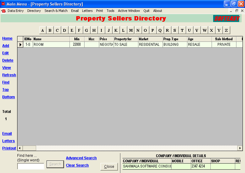 Property Sellers Records Screen of property management software