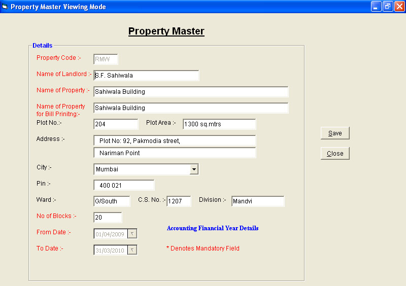 Property Master Data Entry Screen of Rent Billing Software.