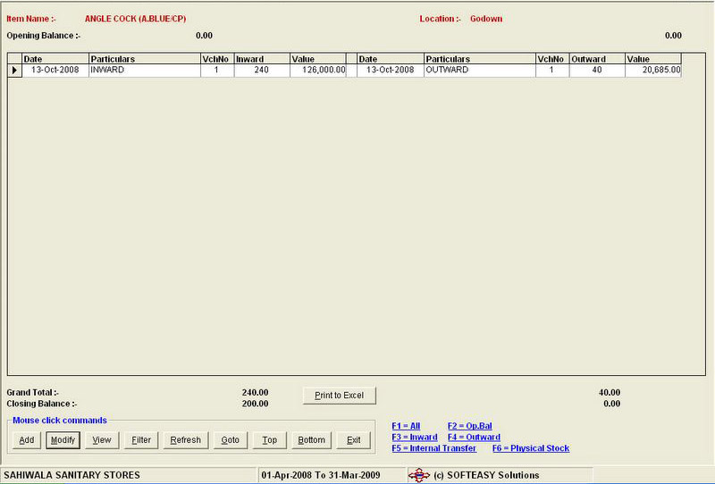 Closing Stock Godown Wise Report Screen of online inventory software