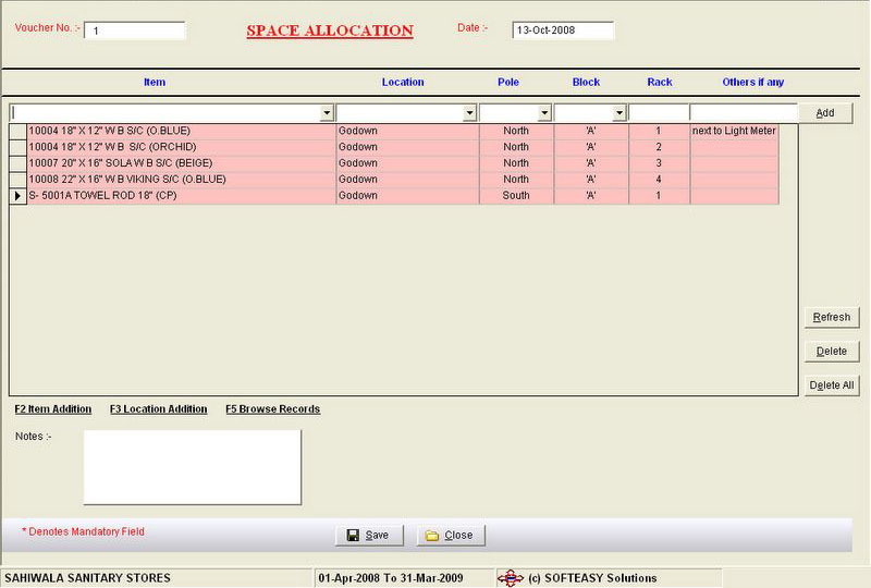Space Allocation Screen of Inventory stock control software
