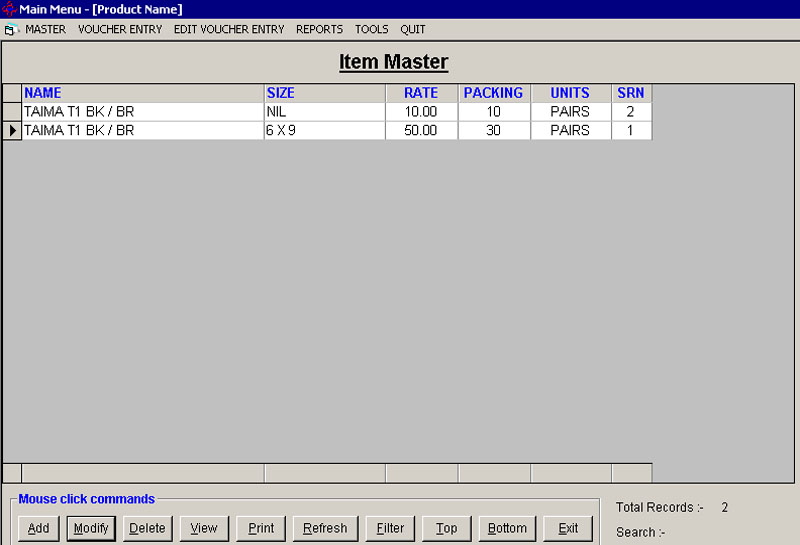 Item Master Records Screen of Footwear Billing Software