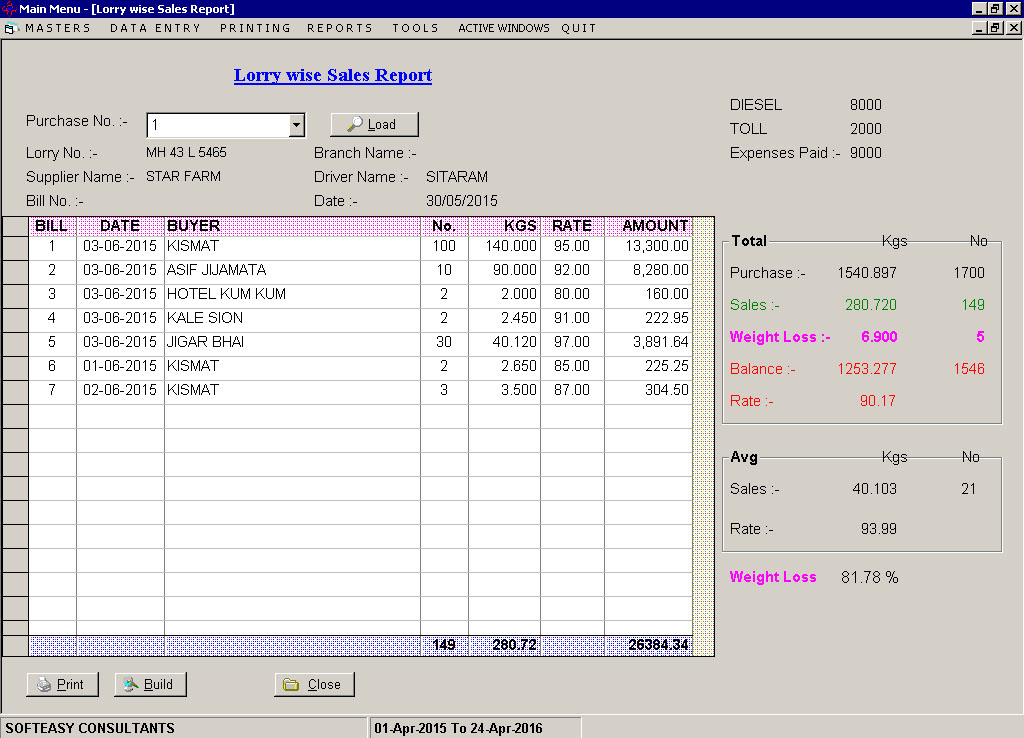 Lorry Wise Report Screen of poultry farming software.