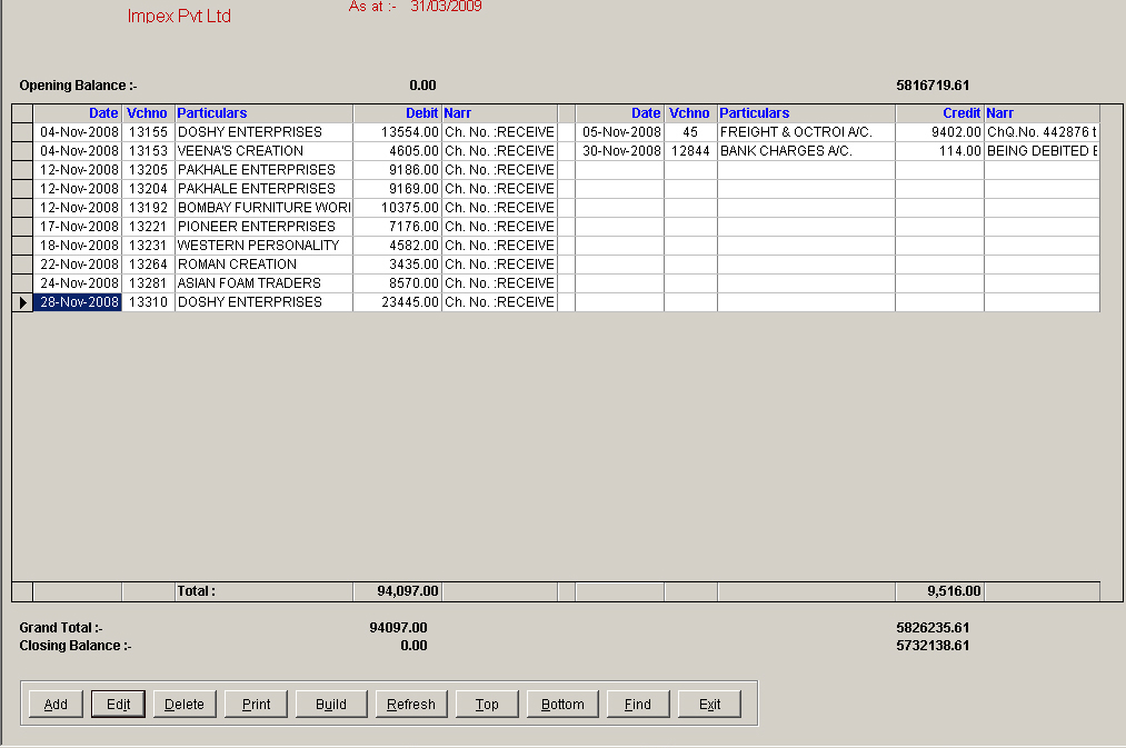 Bank Book Records Screen of Financial Control Software