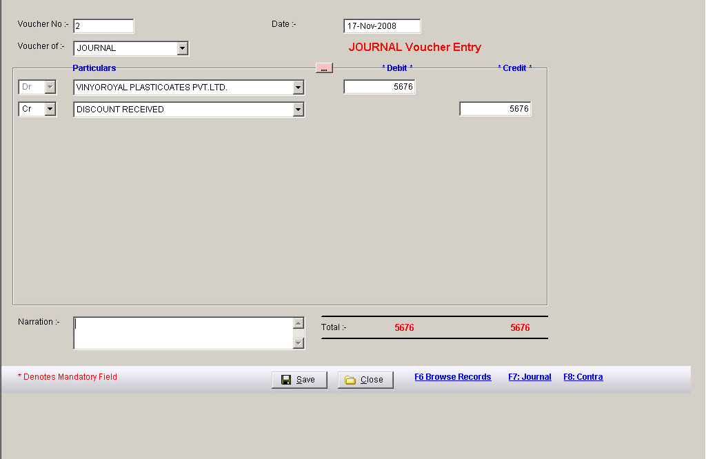 Purchase Inward Data Entry Screen of Accounting Software Packages