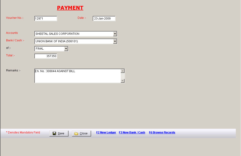 Payment Voucher Data Entry Screen of Business Accounting Software