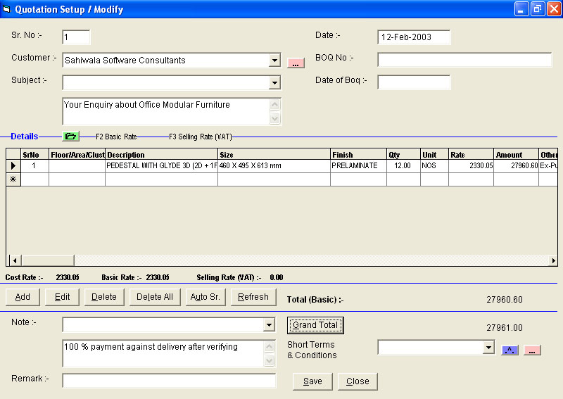 Quotation Data entry Screen of contractor Software