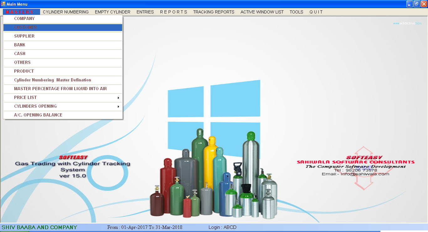 Customer & Supplier Master Screen of Gas Cylinder Inventory Software