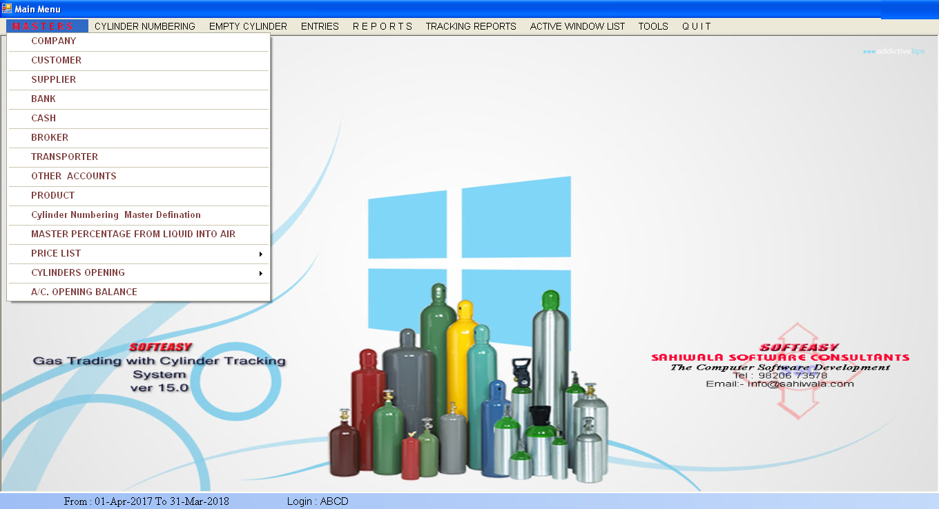 Gas Cylinder Tracking Software Component Mixture Data Entry Screen