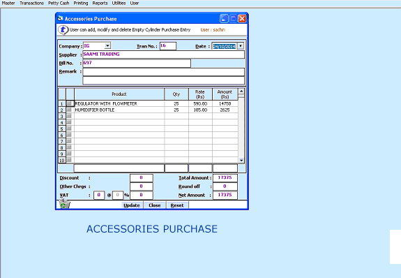Purchase Accessories Gas Screen  of Air Gas cylinder Software