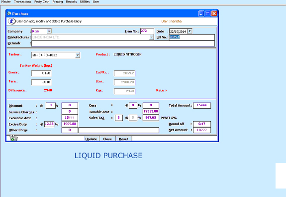 Liquid Purchase Gas of Air Gas cylinder Software