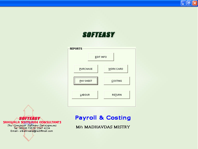 Main menu Reports Paysheet highlighted Screen of Contract Labor Management software