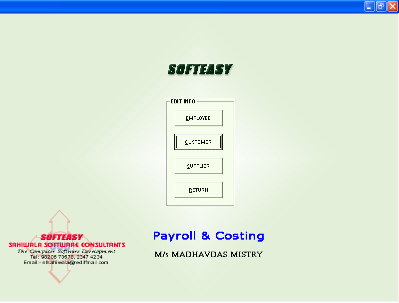 Civil Engineer Software Main Menu with customer highlighted screen