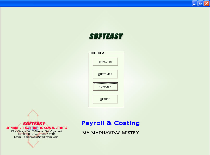 Daily Wages Software Main menu supplier highlighted screen