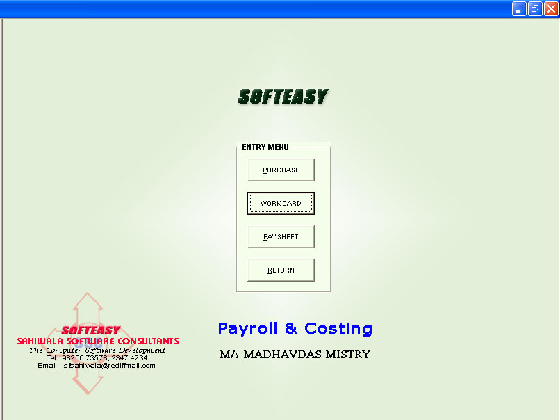 Civil Engineer Software Main Menu-voucher-work card screen