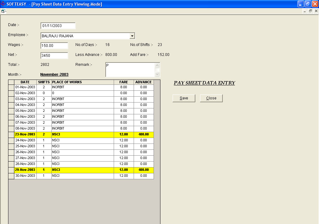 daily wages management Software Pay Sheet Data entry Screen