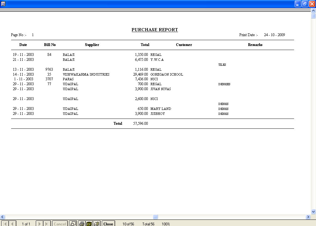 Daily Wages Software Purchase Report Print out screen