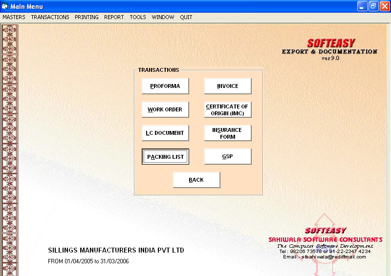Export Billing Software Main Menu of Transaction withPacking List Highlighted