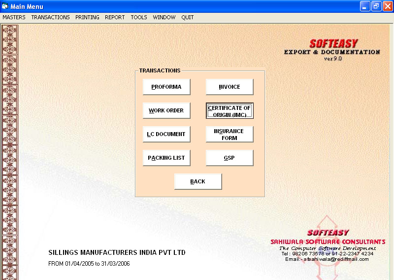 Main Menu Screen of Transaction with Certificate of Origin Highlighted of The Cloud Based Export Document Software