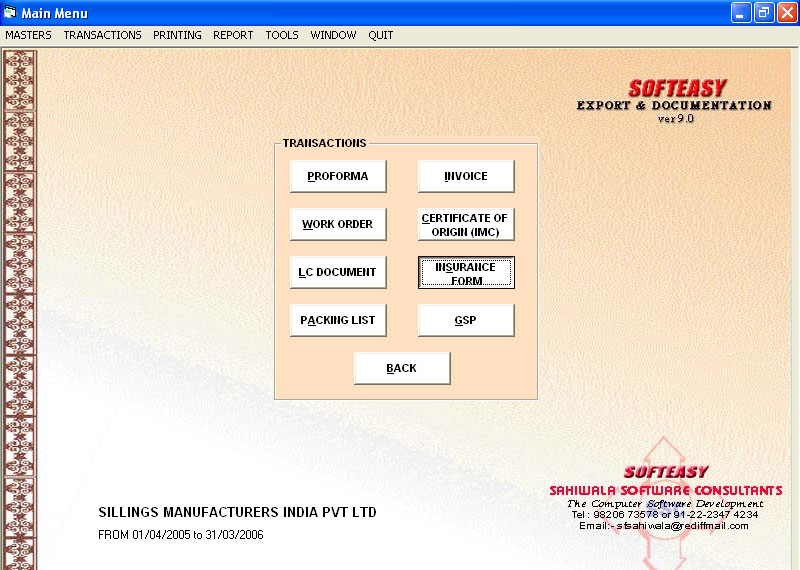 Export Shipping software Main Menu of Transaction with Insurance Form Highlighted