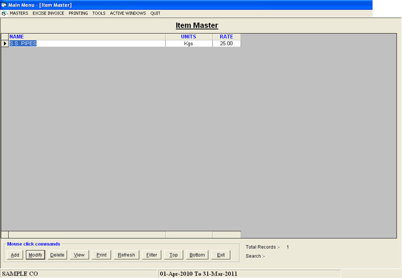 Item Master Records Screen of Excise Dealers Software