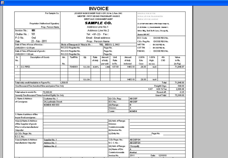 Excise Bill printing Screen of Excise Software