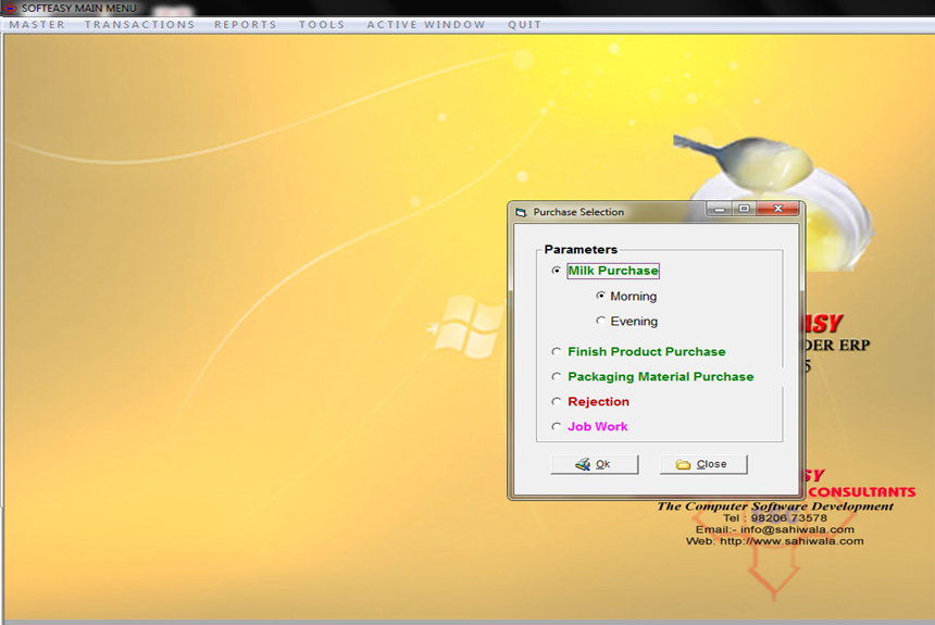 Main Menu with Purchase Sub Menu of Milk Testing ERP Software