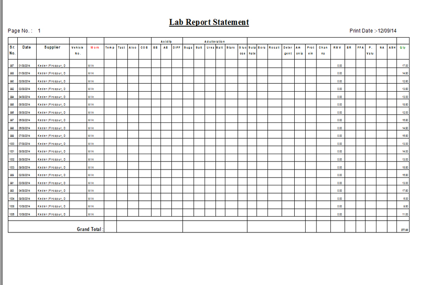 Milk Lab Report Statement Print out Screen of Dairy Milk Software