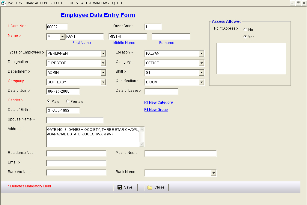 Employee Master Records Screen of Payroll HR Management Software