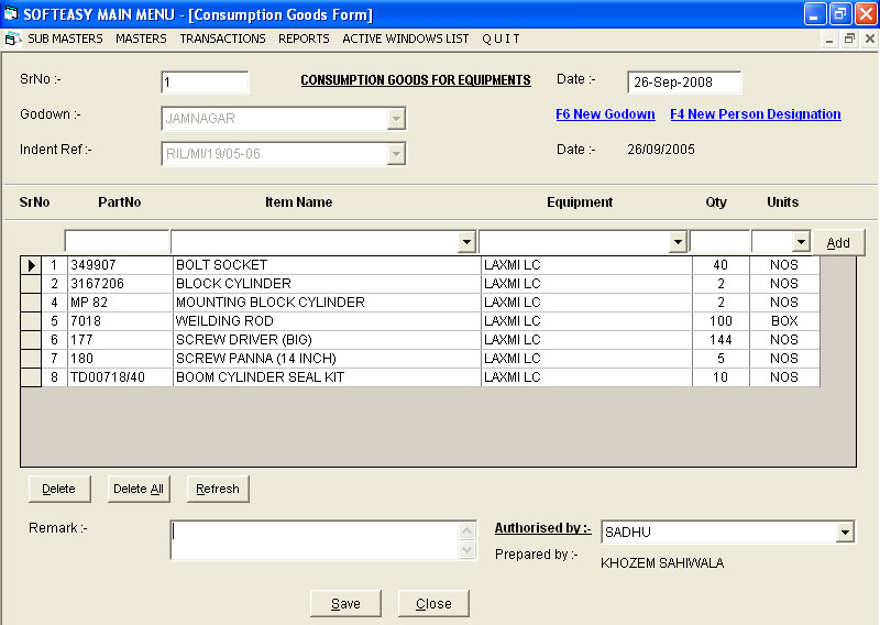 daily_wages Management Software Main Menu Reports Consumption Data Entry
