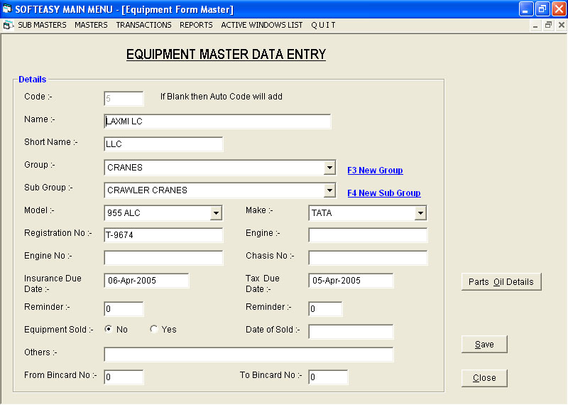 Material Management Software Equipment Data entry Screen