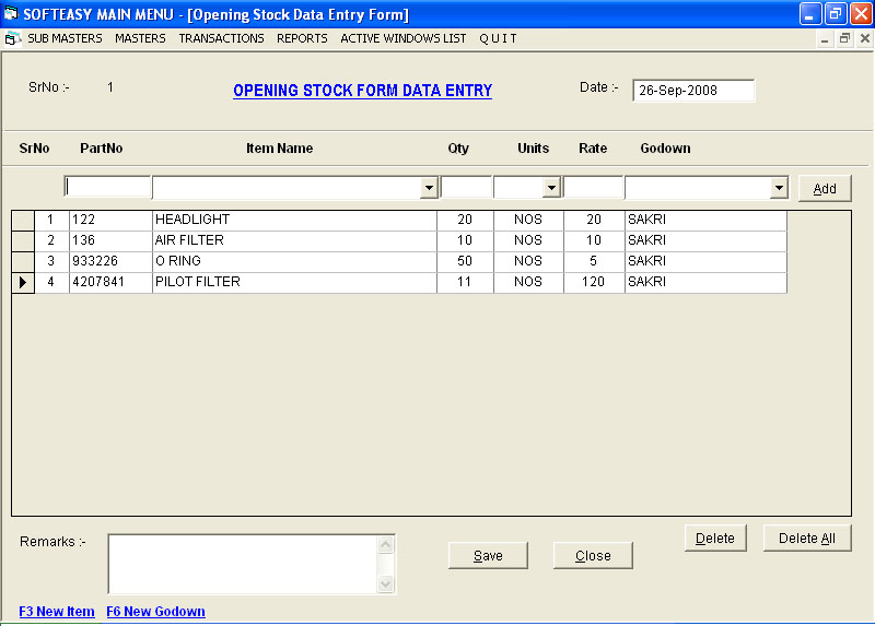 Opening Stock Data Entry Screen of Material Management Software