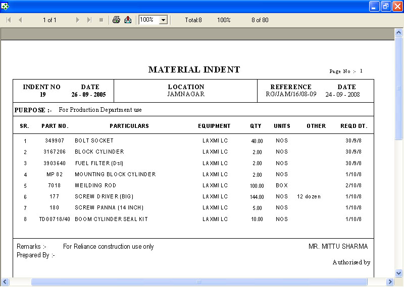 Material Indent Print Out Screen of Production Software