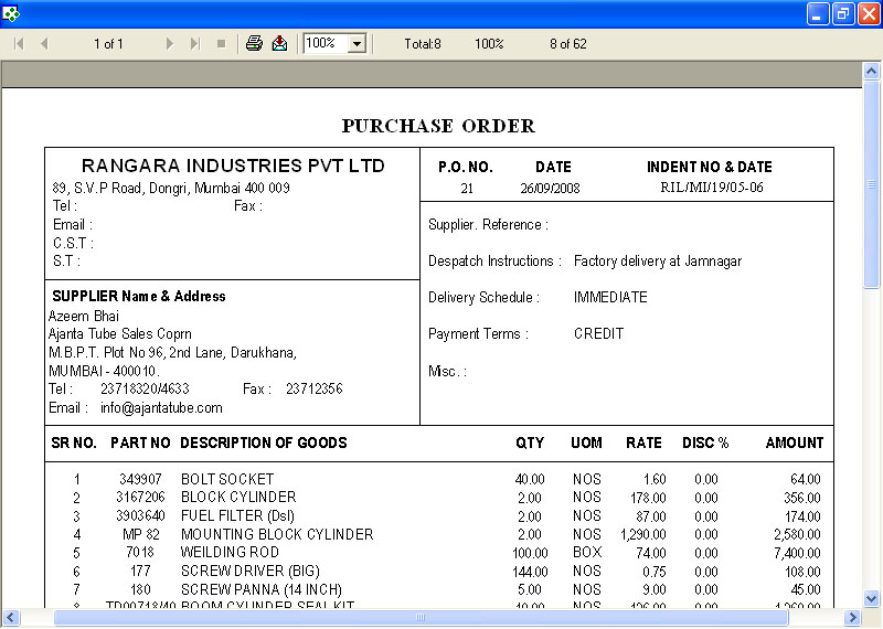 Printing Purchase Order Screen of Online Manufacturing Software