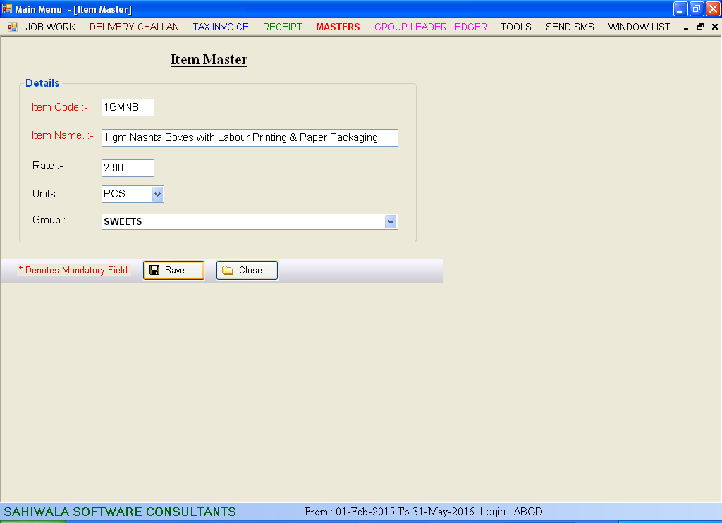 Item Master Data Entry Screen of Printing & Packaging Software.