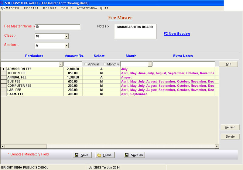 Fee Master Data Entry Screen of School Fees Software