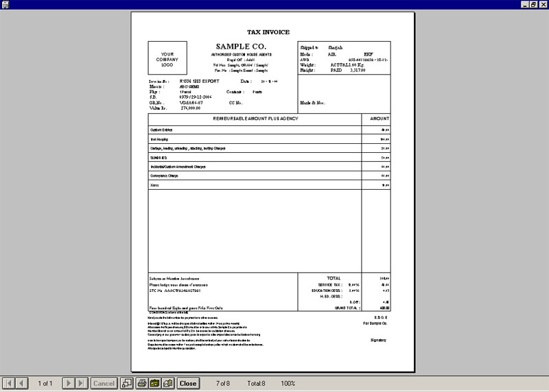 Print Invoice Screen of custom Clearance Accounting Software