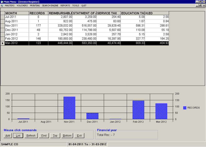 Sales Monthly Register Screen of Custom Broker Clearance Billing Software