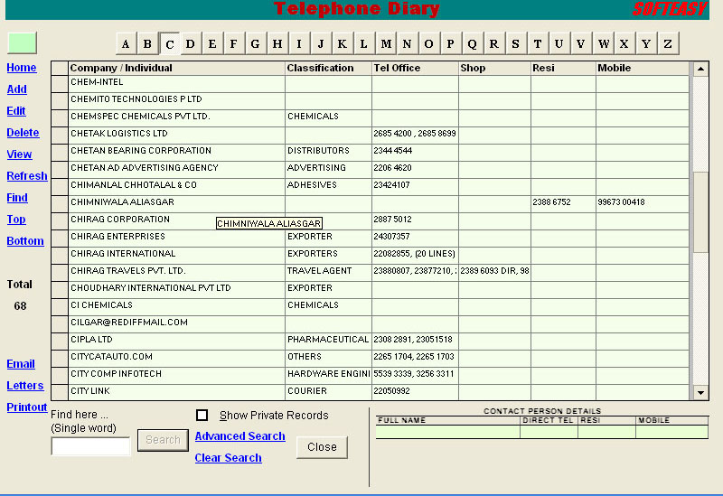 Telephone Diary Index Screen of Contact Management Software.