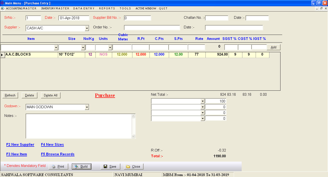 Timber Billing Software Tax invoicing Data Entry Screen