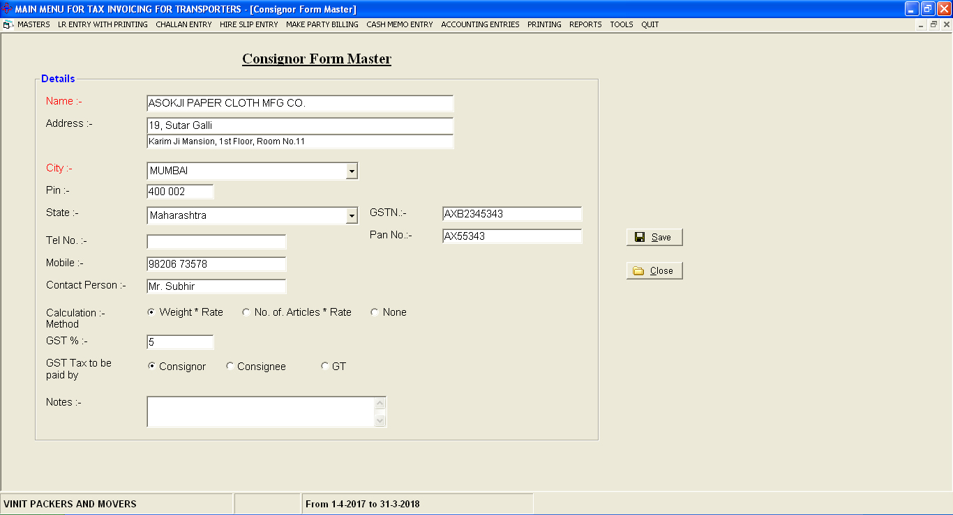 Challan Data entry Screen Of daily Parcel Billing Accounting Software